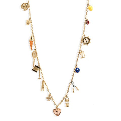 Tory Burch Womens Gold Rosary Charm Long Necklace - One Size