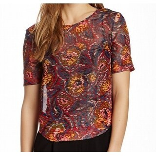 Elizabeth and James NEW Red Women's Size Small S Printed Blouse Silk