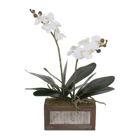 Real Touch White Phalaenopsis Orchids and Leaves in Wood Pot - 12W x 6D x 17H