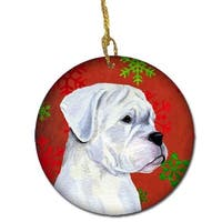 Boxer Red Snowflakes Holiday Christmas Ceramic Ornament