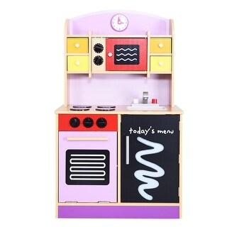 Generic Wood Kitchen Toy Kids Cooking Pretend Play Set Toddler Wooden Playset - Pink