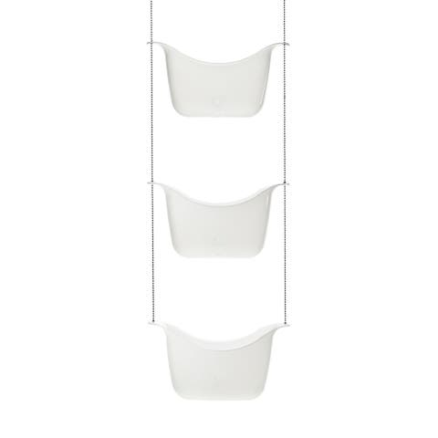 """Umbra 022360 Bask 36 1/4"""" Tall Polypropylene Shower Caddy with Three Buckets by David Quan - White / Nickel"""