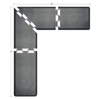 WellnessMats Puzzle Piece Collection 7 X 6 X 2 Feet, 4 Piece L Series Anti-Fatigue Office & Kitchen Mat Set, Granite Steel
