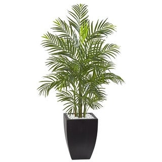 Nearly Natural Home Decor 4.5' Areca Palm Tree With UV Resistant Black Wash Planter