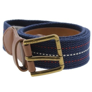 Tommy Hilfiger Mens Casual Belt Leather Trim Woven