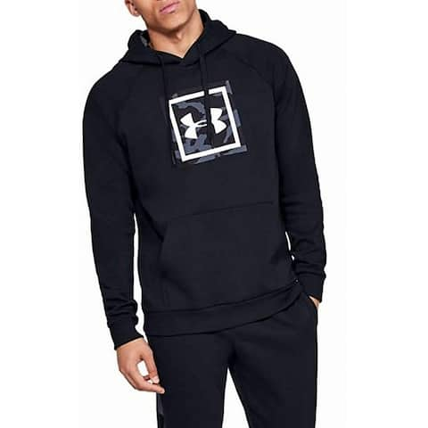 Under Armour Mens Sweater Black Size Large L Hooded Fleece Logo Print
