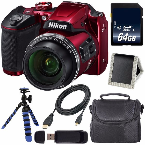 Nikon COOLPIX B500 Digital Camera (Red) (Certified Refurbished) + 64GB SDXC Card + Flexible Tripod + Carrying Case Bundle