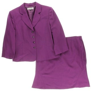 Tahari ASL Womens Baron Skirt Suit Solid 2PC