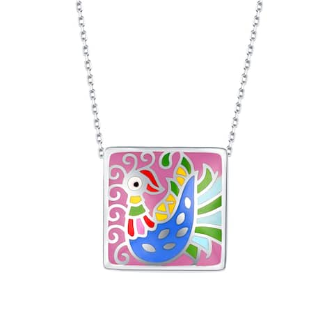 Vedantti Madhubani Art Peacock Multi Color Enamel Square Necklace