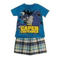 "Little Boys Blue Batman ""Caped Crusader"" Print Checker 2 Pc Shorts Outfit"
