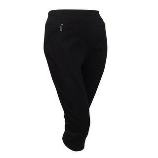 Style & Co. Women's Plus Size Zip-Pocket Capri Pants (16W, Deep Black) - Deep Black - 16W
