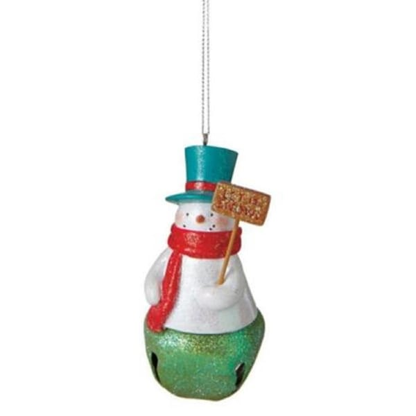 "3.5"" Glittered Snowman with ""Let it Snow"" Sign and Green Jingle Bell Christmas Ornament"