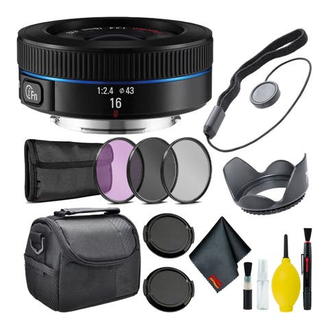 Samsung16mm f/2.4 Ultra Wide Pancake Lens (Black) NX Mount + Warranty + Cleaning Kit + Case + Accessories Bundle