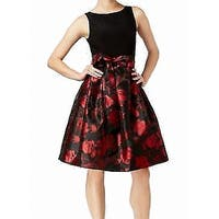 Jessica Howard Black Women's Size 8 Floral Belted A-Line Dress
