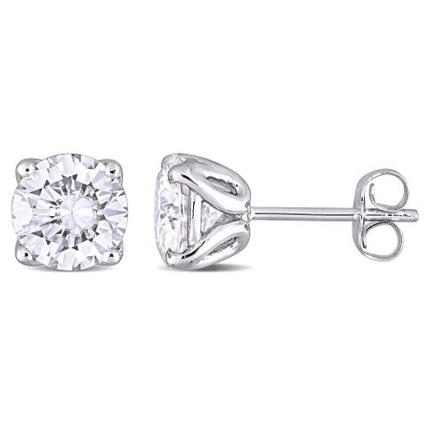 Miadora 10k White Gold Created Moissanite Solitaire Stud Earrings - 7.1 mm x 7.1 mm x 5.7 mm - 7.1 mm x 7.1 mm x 5.7 mm