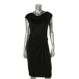 Anne Klein Womens Matte Jersey Knot-Front Wear to Work Dress