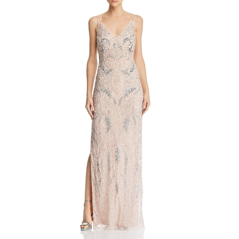 Aidan Mattox Womens Evening Dress Beaded Strappy