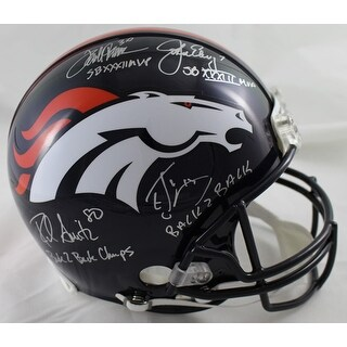 John Elway Terrell Davis Rod Smith Ed McCaffrey Autographed Denver Broncos Proline Helmet JSA
