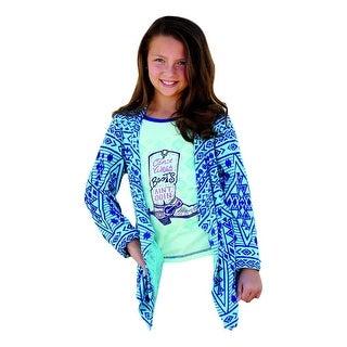 Cruel Girl Western Sweater Girls Kid Cardigan Knit Teal CTK3670001