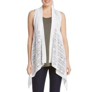 Karen Kane Womens Casual Vest Lace Asymmetric