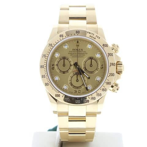 Preowned 116528 Rolex Daytona Champagne Diamond Dial 18k Yellow Gold - Champagne Diamond Dial