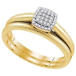 10k Yellow Gold Womens Natural Round Diamond Cluster Filigree Bridal Wedding Engagement Ring band Set - White