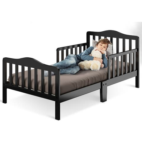 Toddler Bed Classic Design Wood Bed Frame with Two Side Guardrails