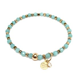 Mint Amazonite 'Friendship' Stretch Bracelet, 14k over Sterling Silver