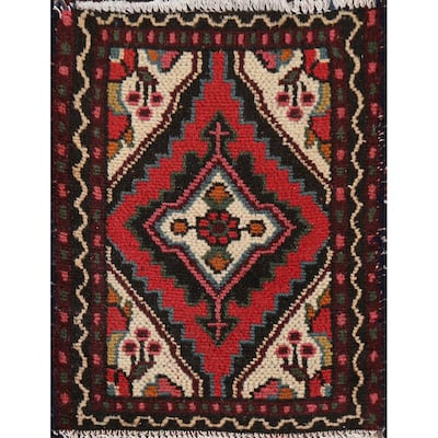"""Vintage Geometric Hamedan Persian Kitchen Area Rug Wool Hand-knotted - 1'4"""" x 1'7"""""""