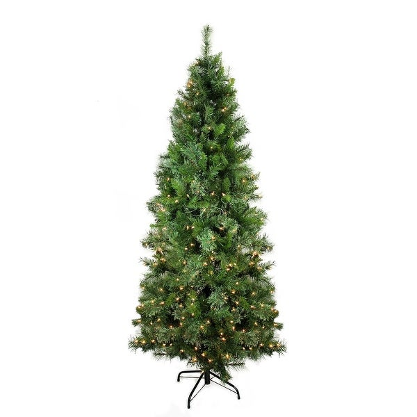 7.5' Pre-Lit Mixed Cashmere Pine Medium Artificial Christmas Tree - Clear Lights - Green