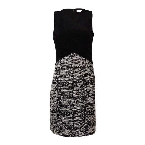 Calvin Klein Women's Faux Suede Wrap Cross Bodice Tweed Dress - Black Multi