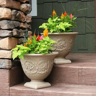 Sunnydaze Darcy Outdoor Flower Pot Planter - Pebble Gray - 16-Inch - 2-Pack