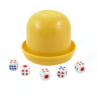 Unique Bargains Game Dice Roller Cup Yellow w 5 Dices