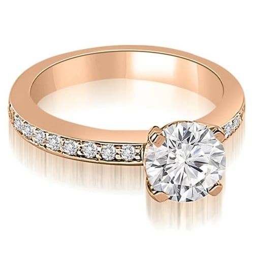1.05 cttw. 14K Rose Gold Classic Round Cut Diamond Engagement Ring