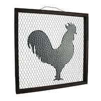 "19""X19"" Metal Rooster on Mesh frame"