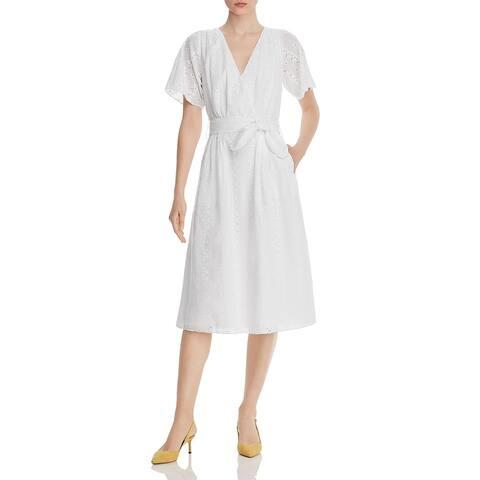 Joie Womens Azariah Midi Dress Eyelet Sheer - Clean White
