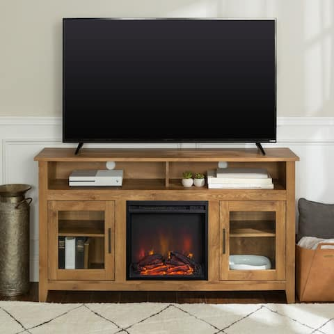 58-inch Highboy 2-Door Fireplace TV Stand Console