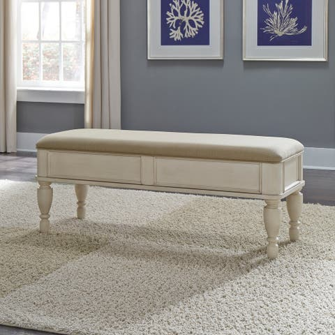 Rustic White Traditions Lift Top Bench - W50 x D18 x H19