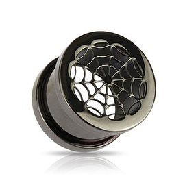 Blackline Titanium Anodized Over Surgical Steel Spider Web Screw-Fit Tunnel Plug (Sold Individually)