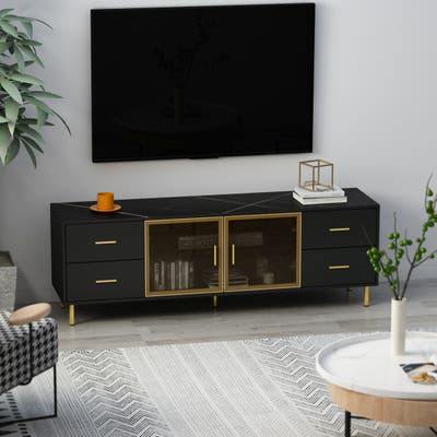 4-Door TV Console Stand With 4 Drawers