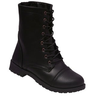 Weeboo Adult Black Lace-Up Closure Military Mid-Calf Combat Boots