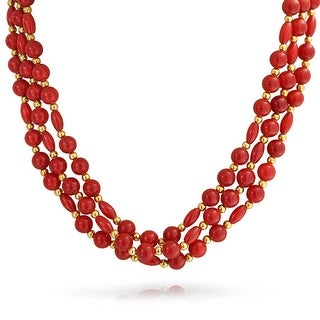 Bling Jewelry Synthetic Coral Gold Plated Three Strand Necklace - Red