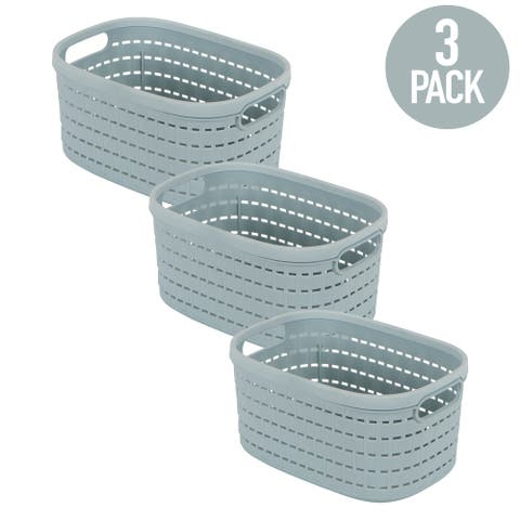 Simplify 3 Small Pack Basket Weave Storage Tote in Blue