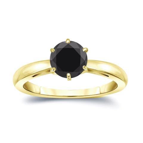Auriya 14k Gold 1 1/2ctw Round Solitaire Black Diamond Engagement Ring 6-Prong