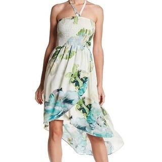 Bobeau White Ivory Womens Size Large L Floral-Print Sheath Dress