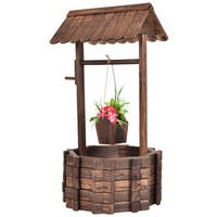 Costway Outdoor Wooden Wishing Well Bucket Flower Plants Planter Patio Garden Home Decor