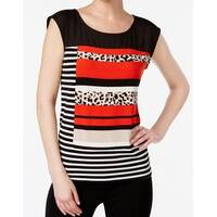 Calvin Klein Black Women's Size XL Cheetah Printed Contrast Top