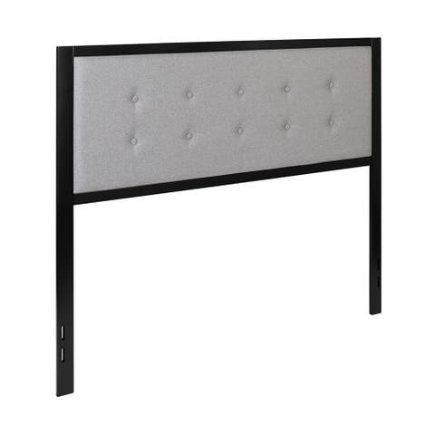 Offex Bristol Metal Tufted Upholstered Queen Size Headboard Light Gray