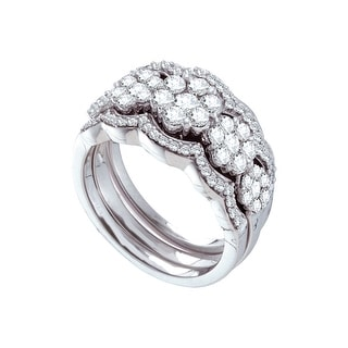1 1/2Ct Diamond Flower Bridal Set White-Gold 14K