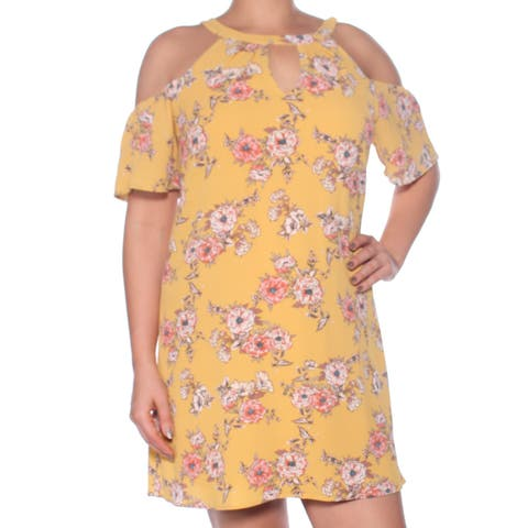 AS YOU WISH Womens Yellow Floral Short Sleeve Keyhole Above The Knee Shift Evening Dress Juniors Size: L